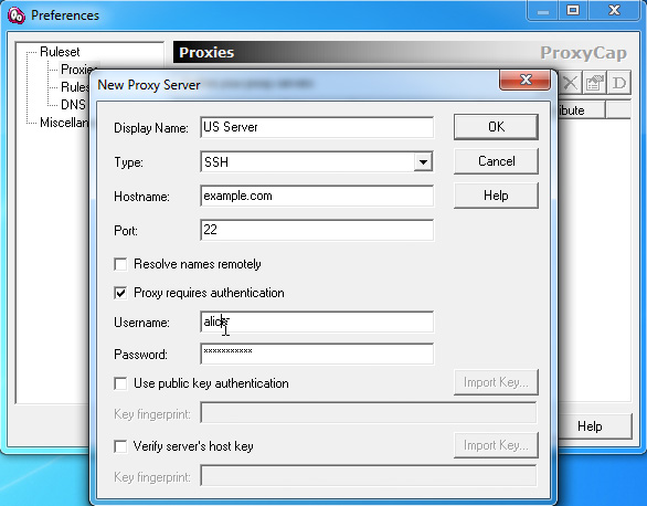Example of SSH Settings in ProxyCap
