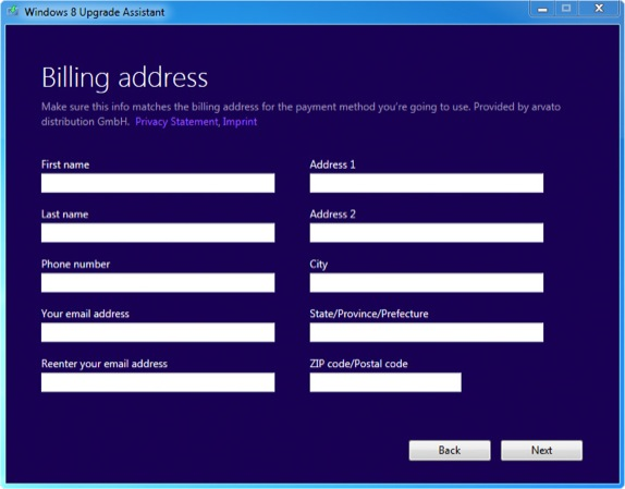 Windows 8 Upgrade Billing Address without a Country